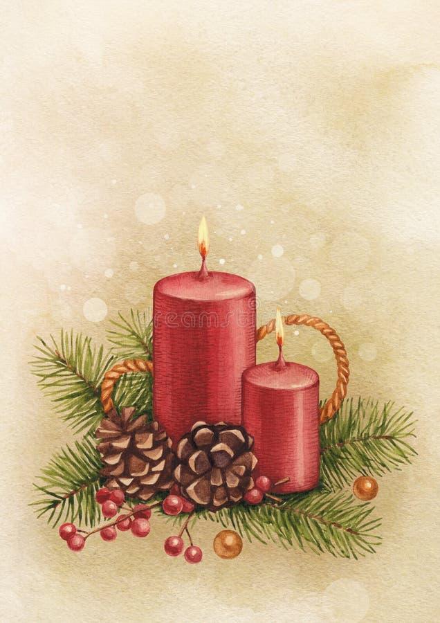 Винтажная рождественская открытка иллюстрация вектора