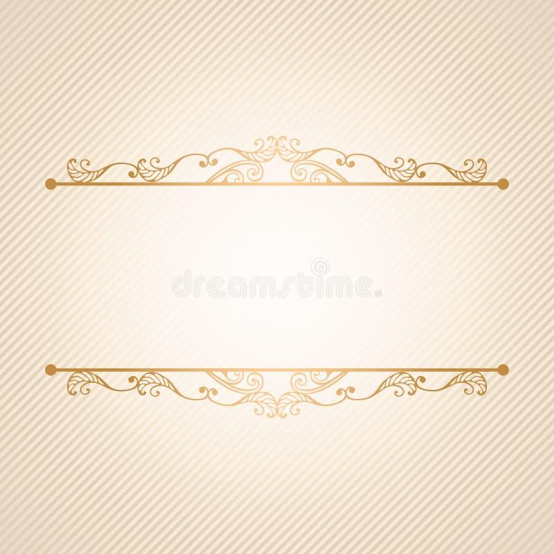 Винтажная роскошная предпосылка вектора Золотые украшенные границы на раскосной картине нашивок иллюстрация вектора