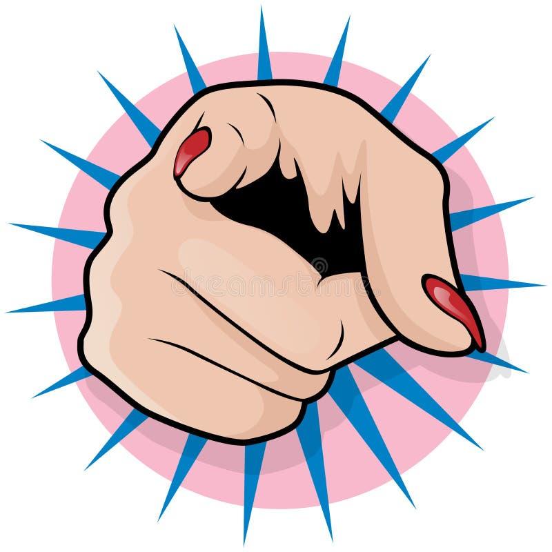 Винтажная рука искусства шипучки женская указывая иллюстрация вектора