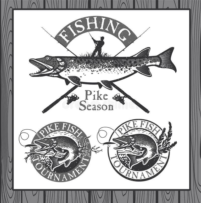 Винтажная рыбная ловля форели emblems, ярлыки и дизайн иллюстрация вектора