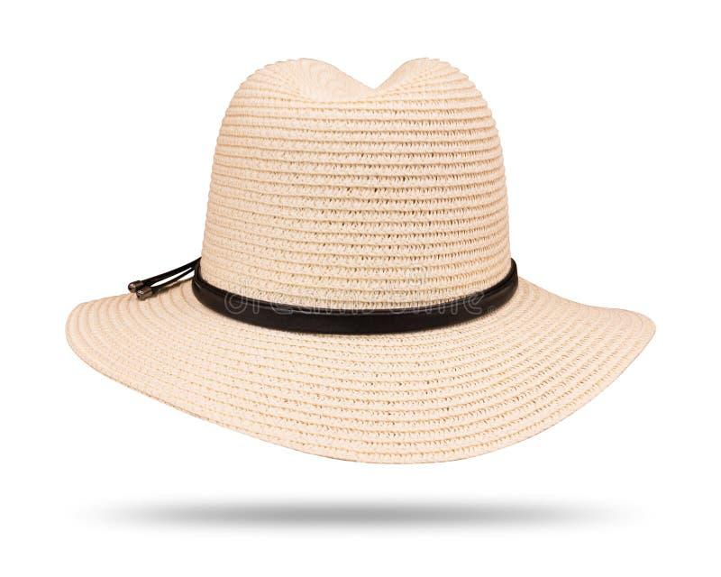 Винтажная соломенная шляпа с черной веревочкой изолированной на белой предпосылке r стоковые фото