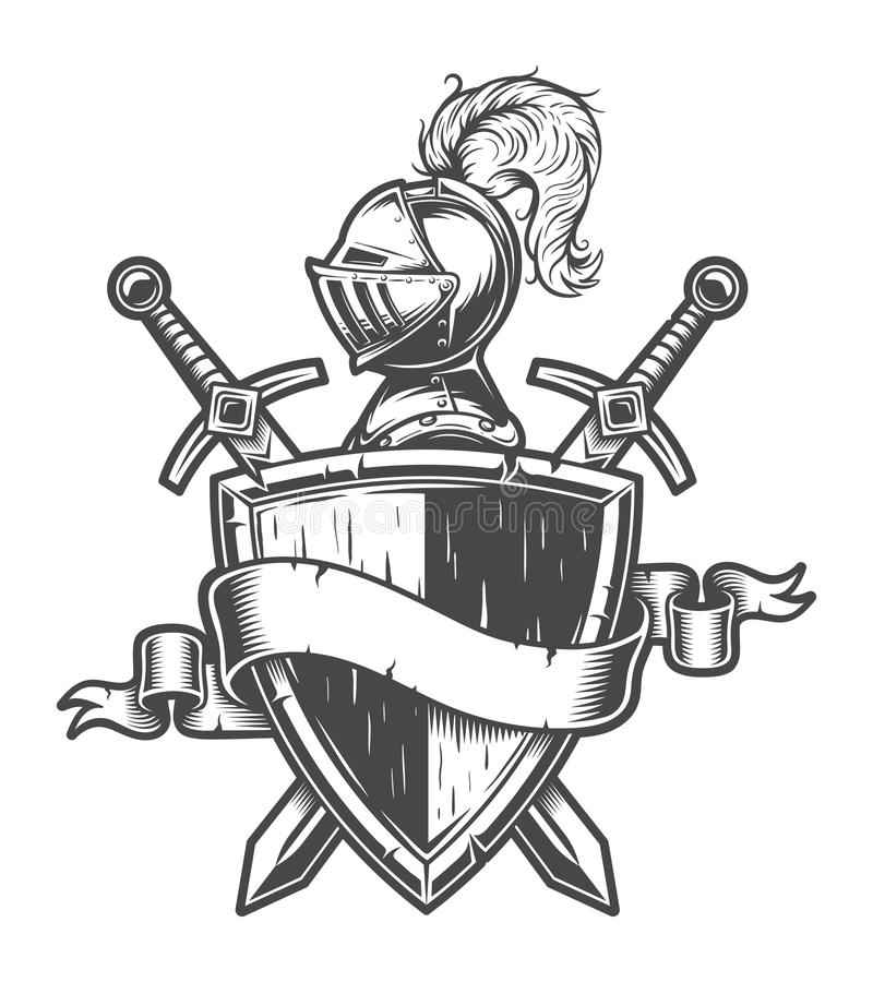 Винтажная средневековая эмблема рыцаря бесплатная иллюстрация