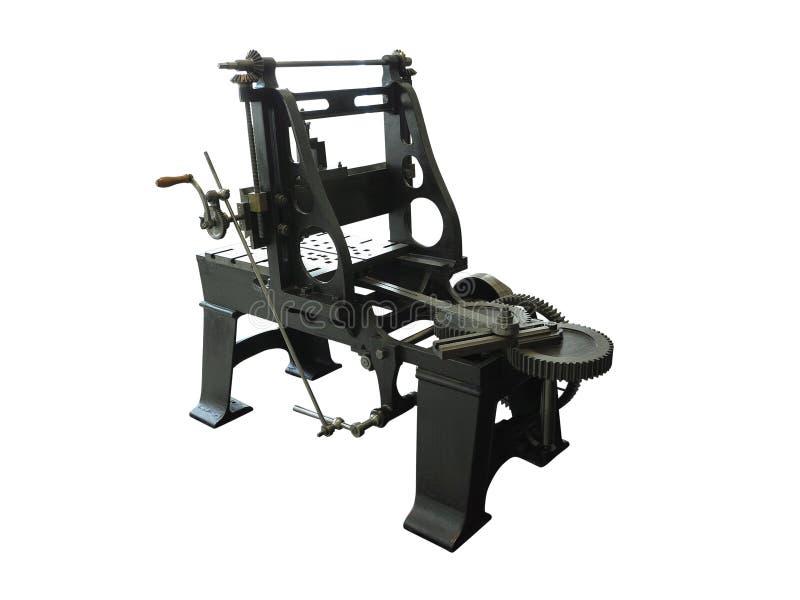 Винтажная старая и сильная промышленная машина механической обработки изолированная над белизной стоковые фотографии rf