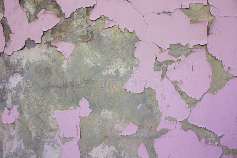 Винтажная старая стена Dameged с розовой краской стоковые фотографии rf