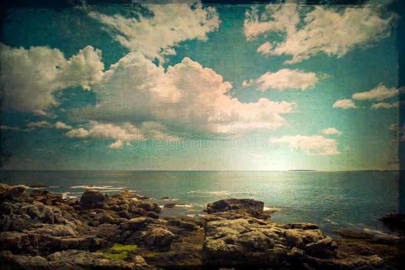Винтажная сцена океана стиля стоковая фотография rf