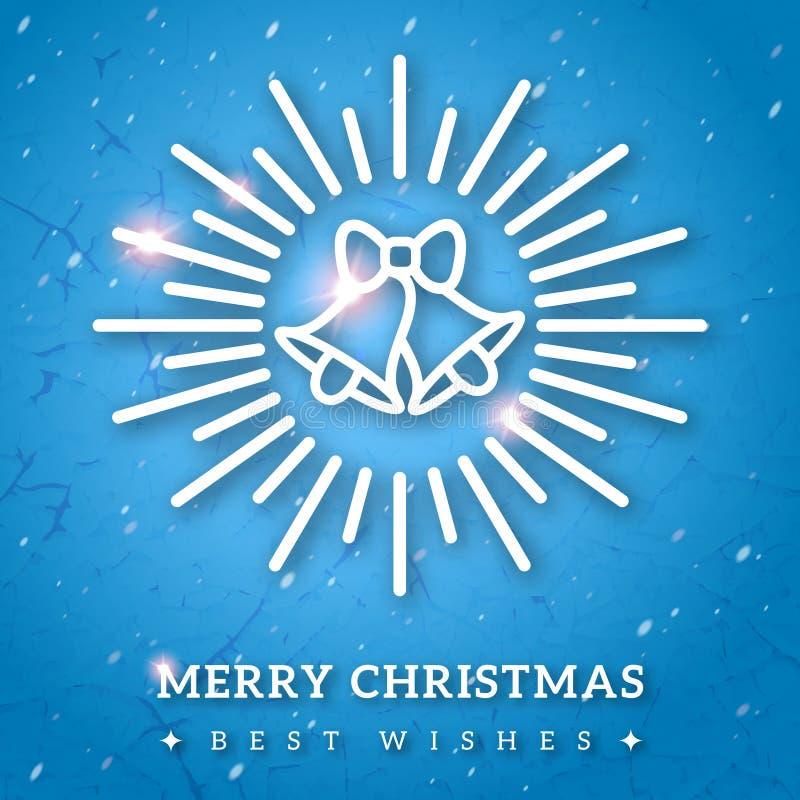 Винтажная с Рождеством Христовым поздравительная открытка с звоном колоколами иллюстрация вектора