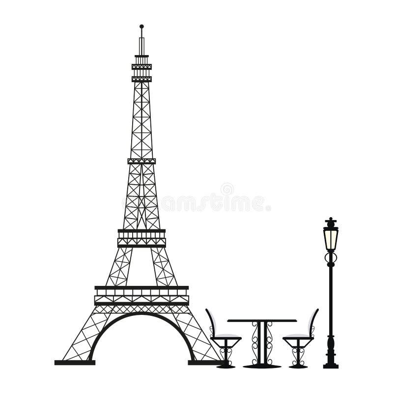 Винтажная таблица и стул на Эйфелевой башне иллюстрация штока