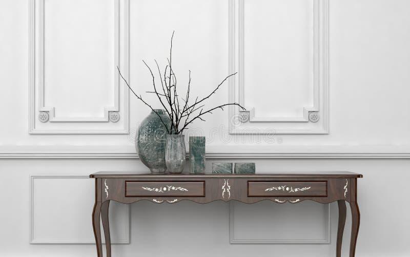 Винтажная таблица консоли стиля в классической комнате бесплатная иллюстрация