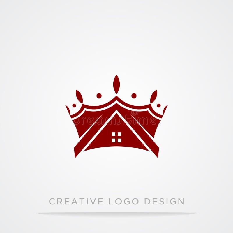 Винтажная творческая крона и домашний абстрактный шаблон дизайна логотипа Логотип символа концепции короля Ферзя винтажного логот иллюстрация штока