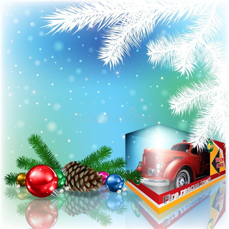 Винтажная тележка игрушки под рождественской елкой иллюстрация штока
