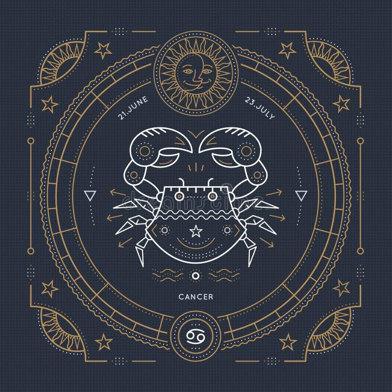 Винтажная тонкая линия ярлык знака зодиака Карциномы Символ ретро вектора астрологический, мистик, священный элемент геометрии, э иллюстрация вектора