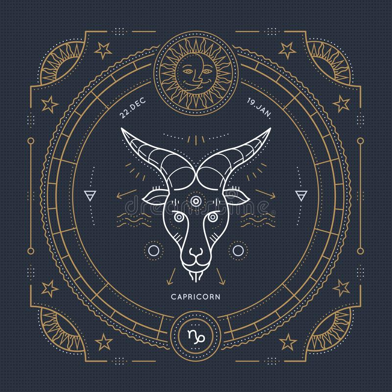 Винтажная тонкая линия ярлык знака зодиака козерога Символ ретро вектора астрологический, мистик, священный элемент геометрии, эм иллюстрация штока