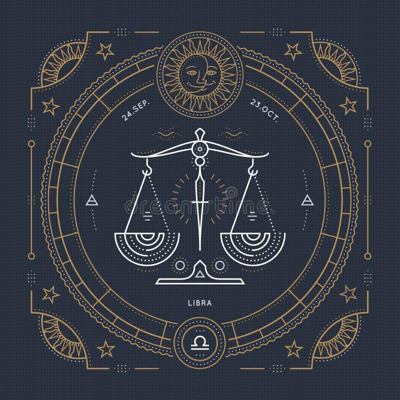 Винтажная тонкая линия ярлык знака зодиака Libra Символ ретро вектора астрологический, мистик, священный элемент геометрии, эмбле иллюстрация вектора
