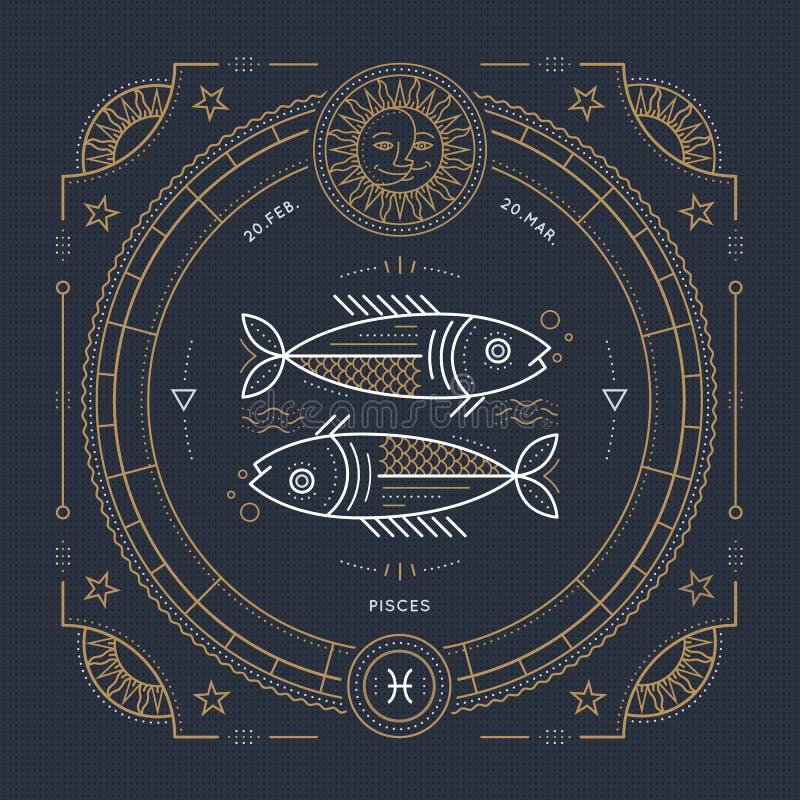 Винтажная тонкая линия ярлык знака зодиака Pisces Символ ретро вектора астрологический, мистик, священный элемент геометрии, эмбл иллюстрация штока
