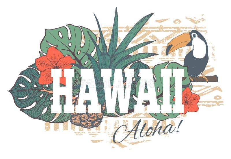 Винтажная тропическая экзотическая печать Гаваи для футболки бесплатная иллюстрация