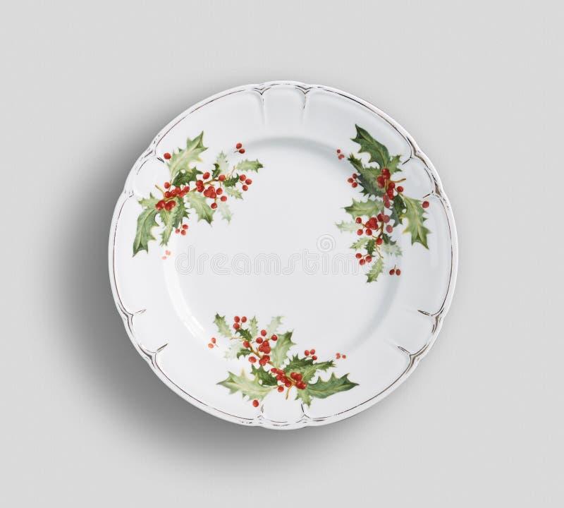 Винтажная флористическая плита обедающего с белой предпосылкой стоковое фото