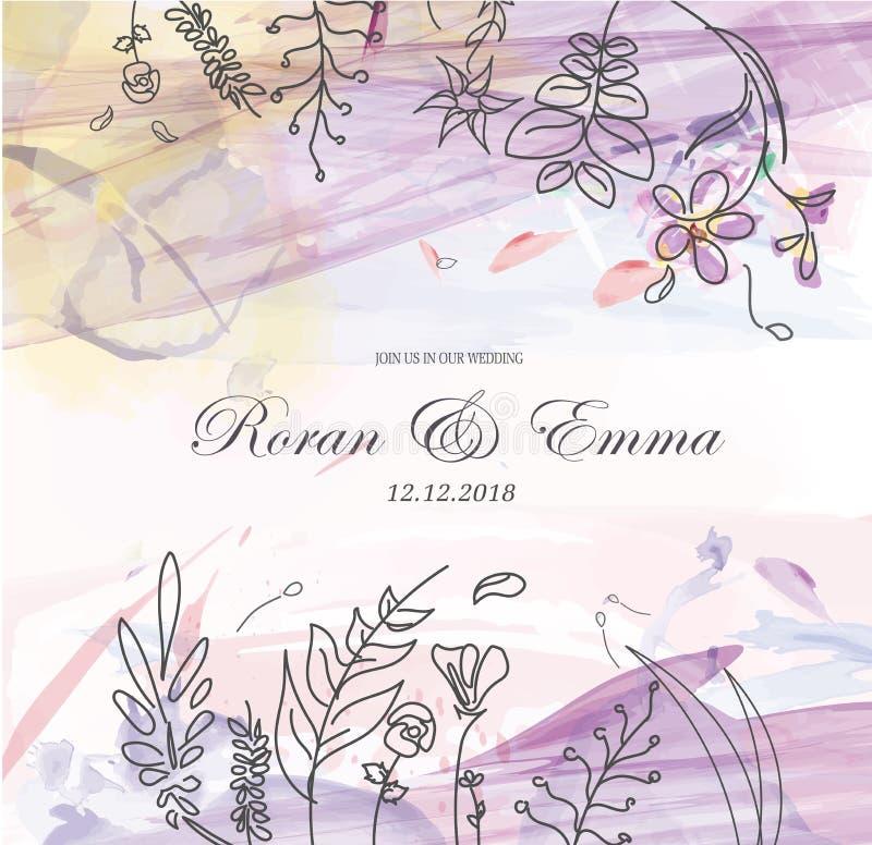 Винтажная флористическая поздравительная открытка цветет рамка в стиле акварели бесплатная иллюстрация