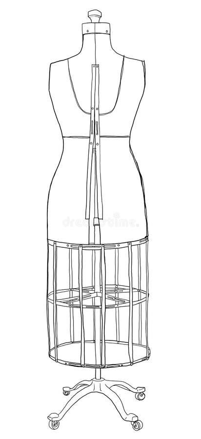 Винтажная форма платья акме с клеткой провода иллюстрация вектора