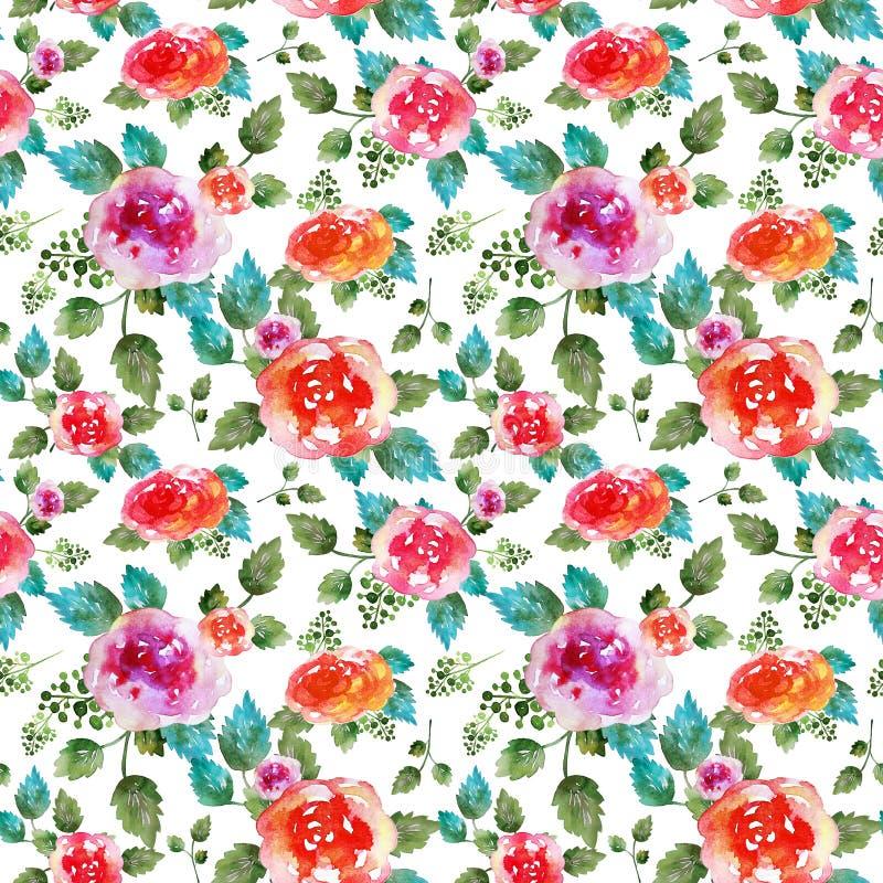 Винтажная флористическая безшовная картина с розовыми цветками и лист Печать для обоев ткани бесконечных Нарисованная вручную акв стоковая фотография