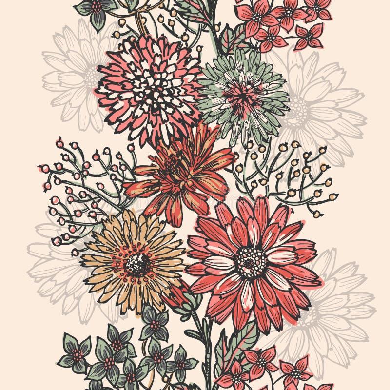 Винтажная флористическая вертикальная безшовная граница бесплатная иллюстрация