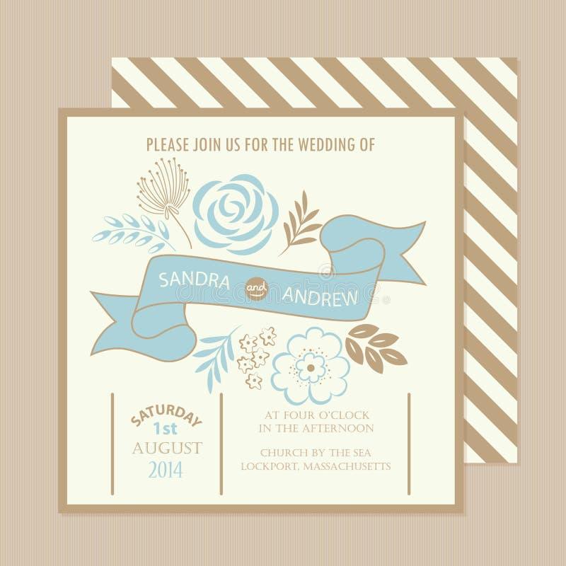Винтажная флористическая карточка приглашения свадьбы бесплатная иллюстрация