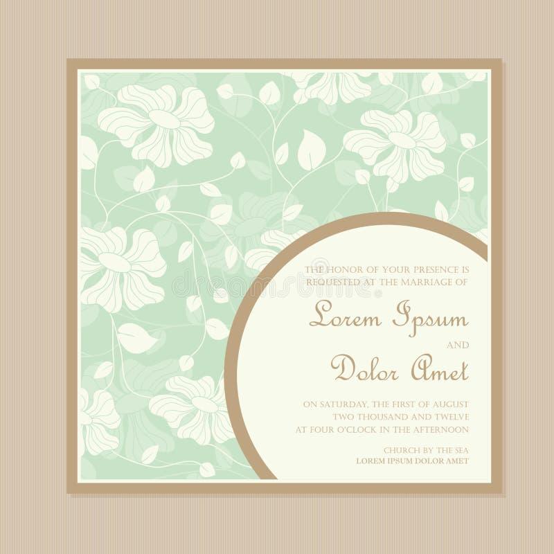 Винтажная флористическая карточка приглашения свадьбы иллюстрация вектора