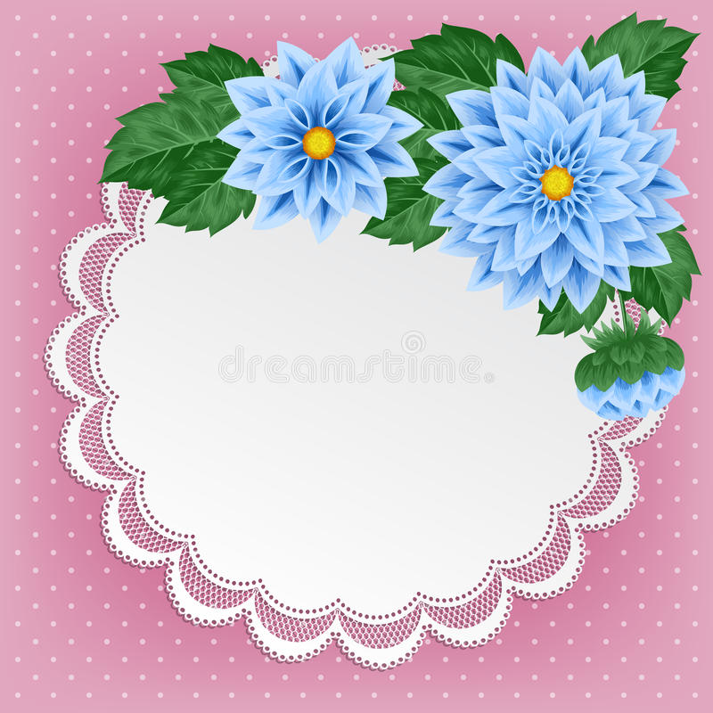 Винтажная флористическая карточка с doily шнурка иллюстрация штока