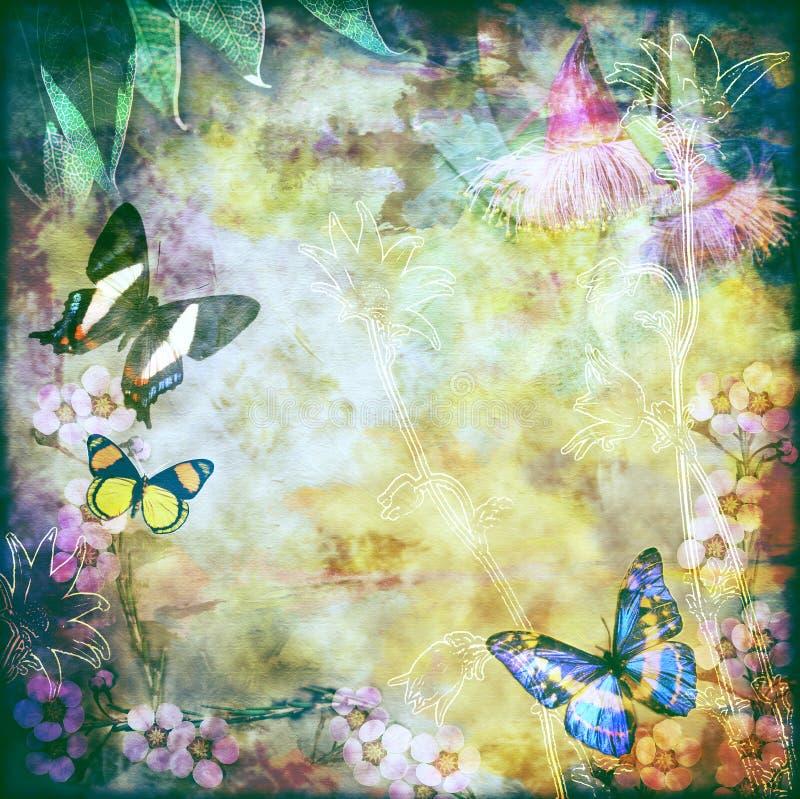 Винтажная флористическая предпосылка бабочки бесплатная иллюстрация