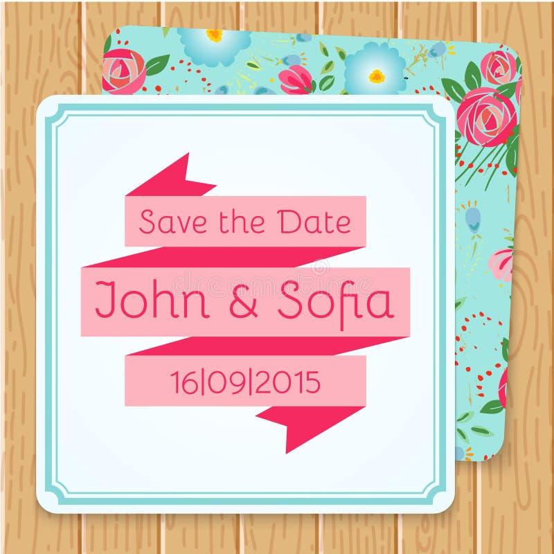 Винтажная флористическая форма квадрата приглашения свадьбы иллюстрация штока