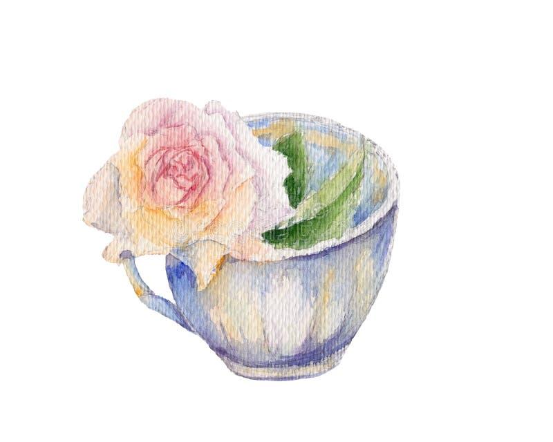 Винтажная чашка чая с цветком розы пинка Ретро иллюстрация акварели изолированная на белой предпосылке Затрапезный шикарный тип иллюстрация вектора