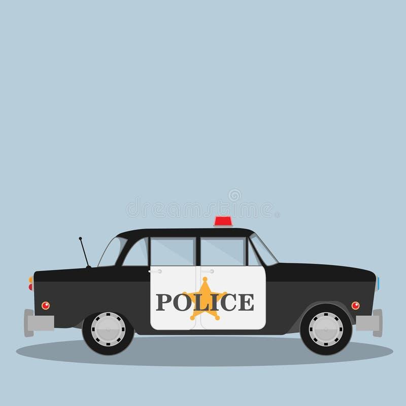 Винтажная черная полицейская машина с звездой шерифа на двери бесплатная иллюстрация