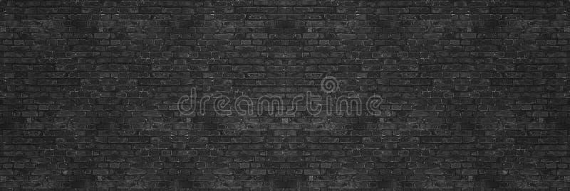 Винтажная черная текстура кирпичной стены мытья для дизайна Панорамная предпосылка для ваших текста или изображения стоковые фотографии rf