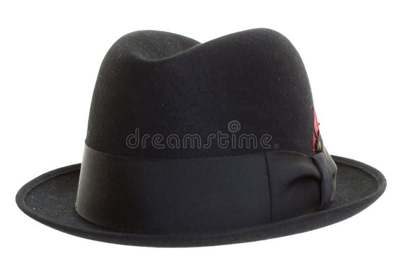 Винтажная черная шляпа изолированная на белой предпосылке стоковое изображение rf
