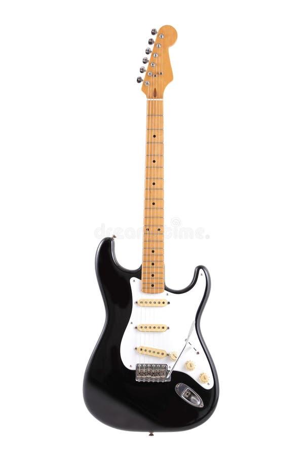 Винтажная черно-белая электрическая гитара изолированная на белом с путем клиппирования стоковая фотография