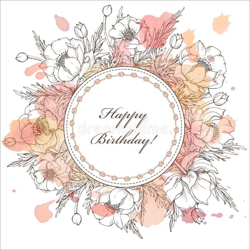 Винтажная элегантная поздравительная открытка с графическими цветками (trollius) иллюстрация вектора