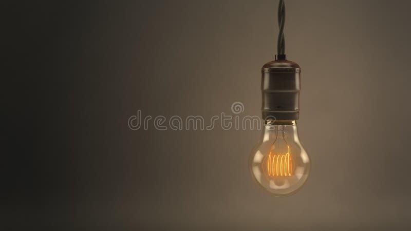 Винтажная электрическая лампочка смертной казни через повешение стоковое изображение