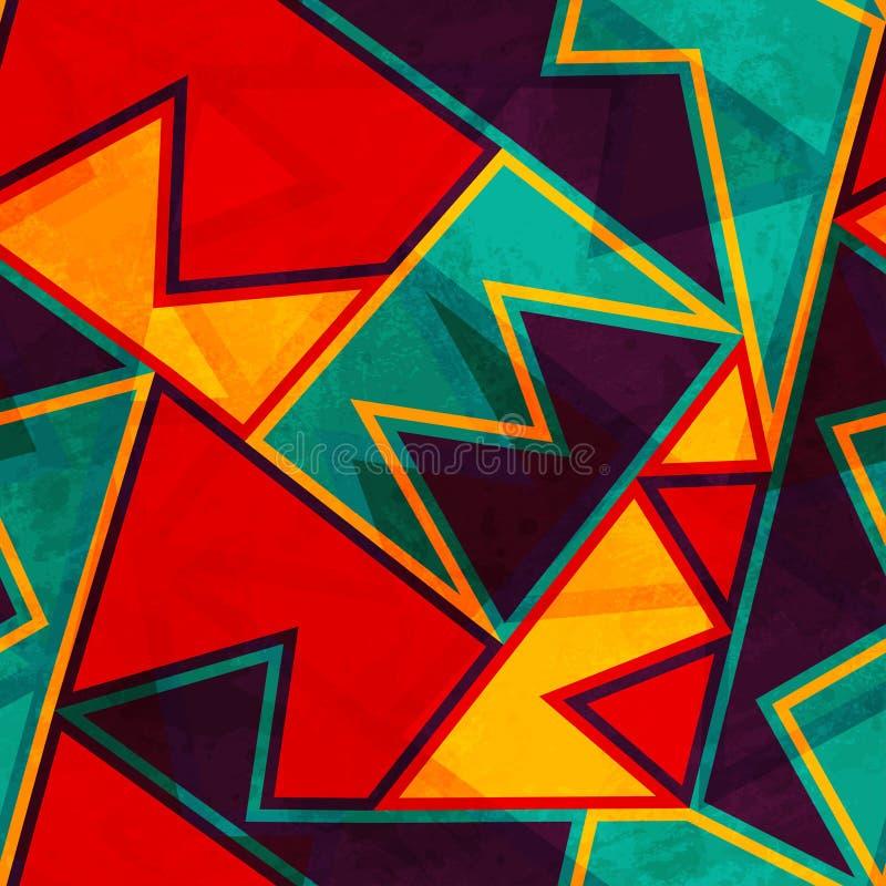 Винтажная яркая безшовная текстура с влиянием grunge иллюстрация штока