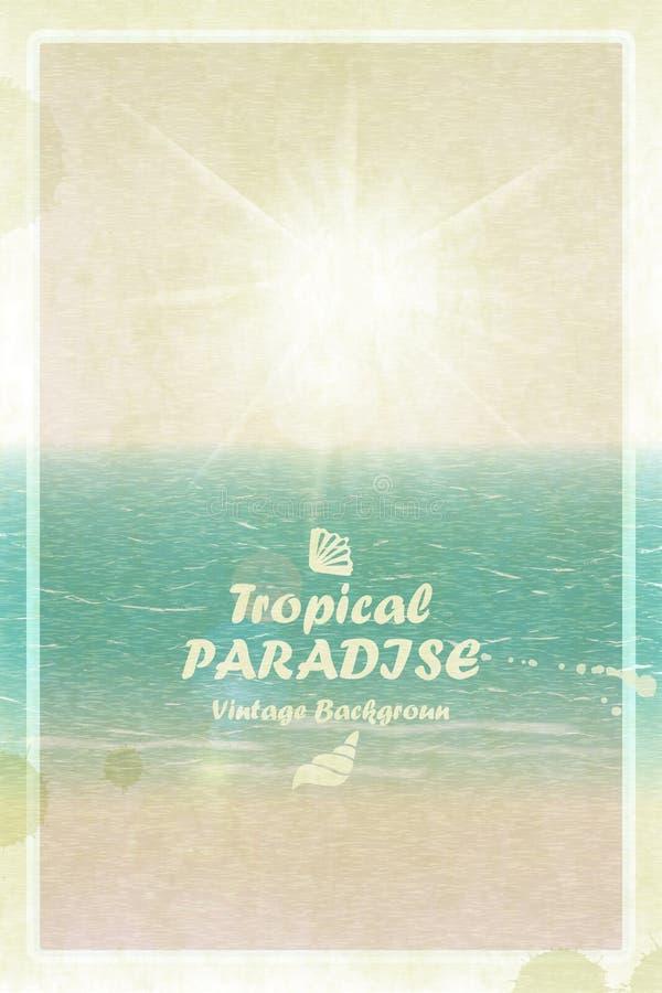 Винтажная яркая солнечная карточка лета Ретро тропический рай Vecto иллюстрация штока