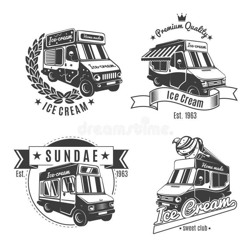 Винтажная Monochrome еда перевозит комплект на грузовиках ярлыков иллюстрация штока