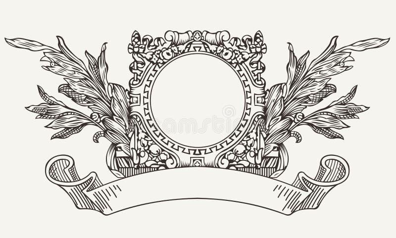 Винтажное богато украшенное знамя переченя венка бесплатная иллюстрация