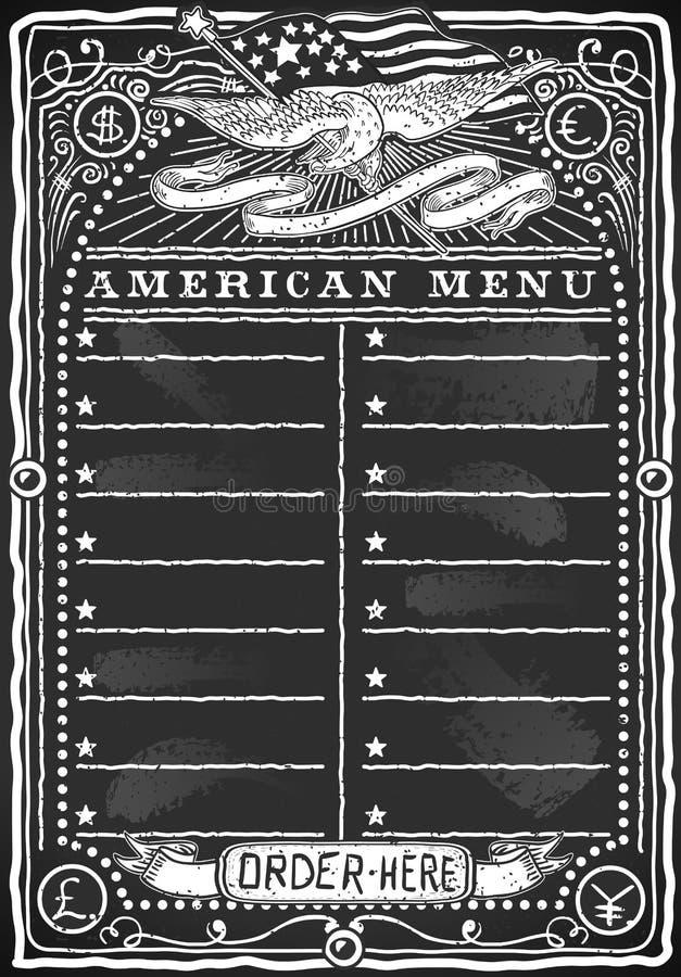 Download Винтажное графическое классн классный для американского меню Стоковое Изображение - изображение насчитывающей доллар, флаг: 33726257