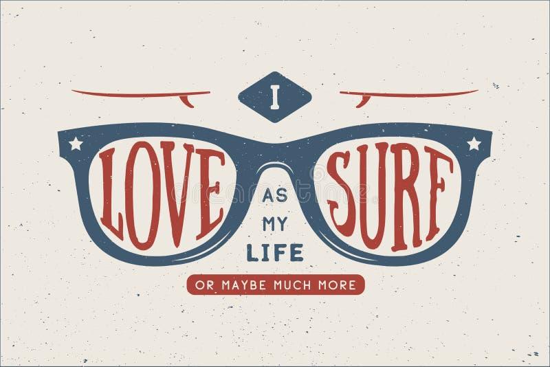 Винтажное лето занимаясь серфингом мотивационная и вдохновляющая цитата иллюстрация вектора