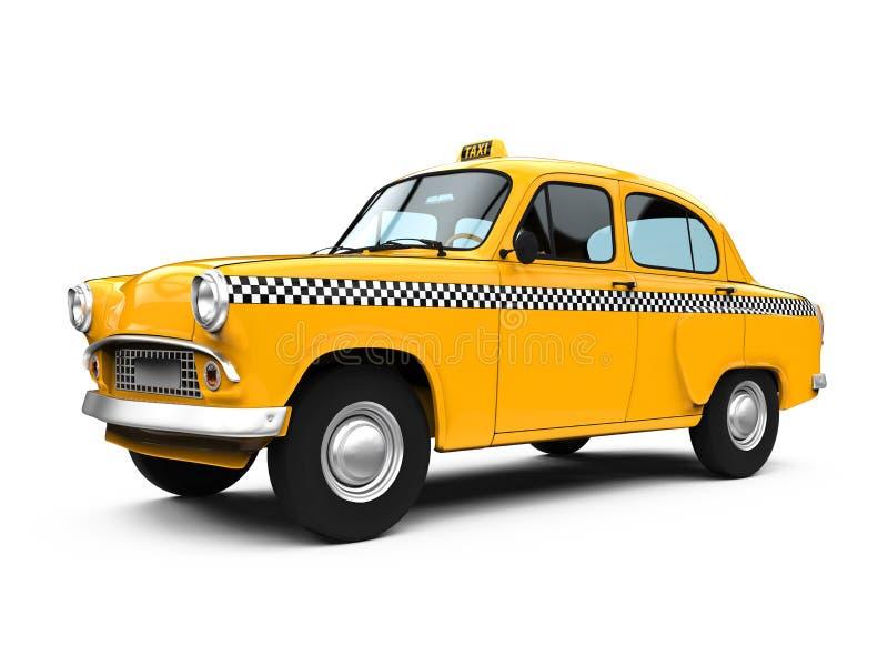 Винтажное желтое такси иллюстрация вектора