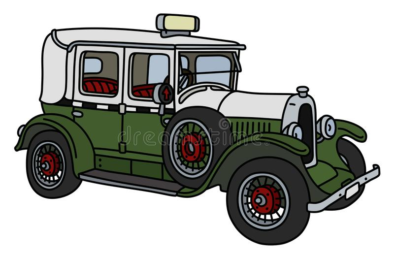 Винтажное зеленое и белое такси иллюстрация штока