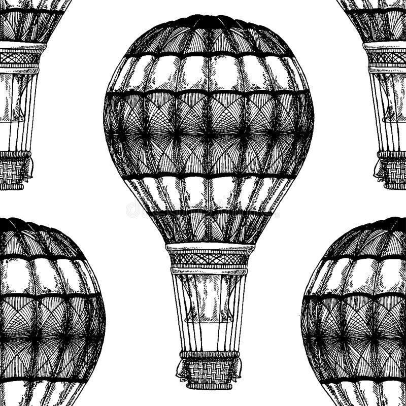 Винтажное изображение вектора воздушного шара на картине вектора иллюстрации мела классн классного безшовной с горячим воздушным  иллюстрация вектора