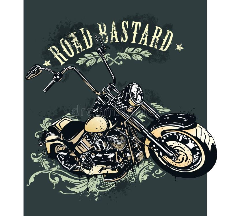 Винтажное изображение мотоцикла тяпки иллюстрация вектора
