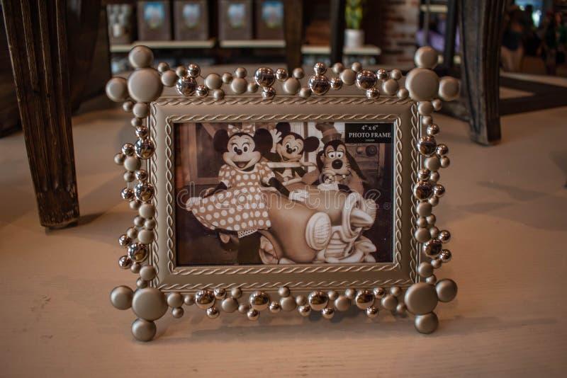 Винтажное изображение Mickey, Минни и чокнутого в веснах Дисней на озере Buena Vista стоковое фото rf