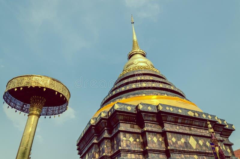 Винтажное изображение Pra которое Lampang Luang, старый буддист стоковое изображение
