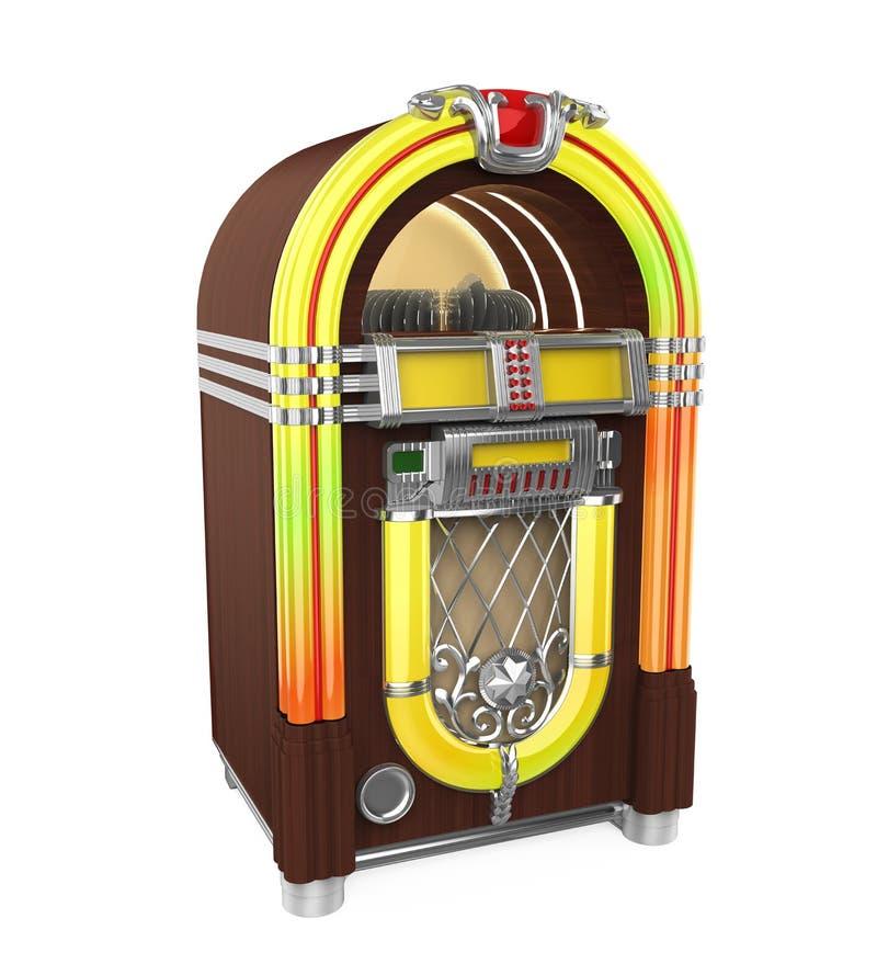 Винтажное изолированное радио музыкального автомата иллюстрация вектора