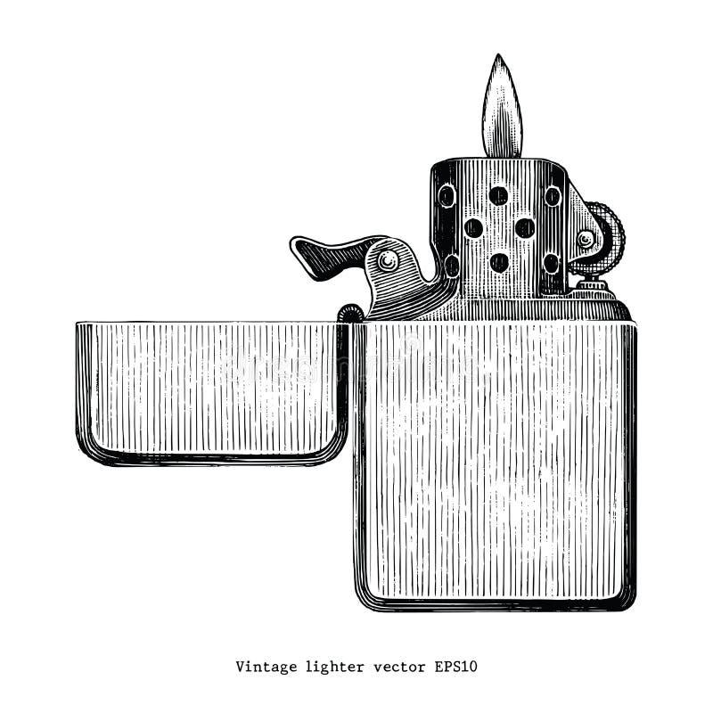 Винтажное искусство зажима чертежа руки лихтера изолированное на белом backgrou иллюстрация вектора